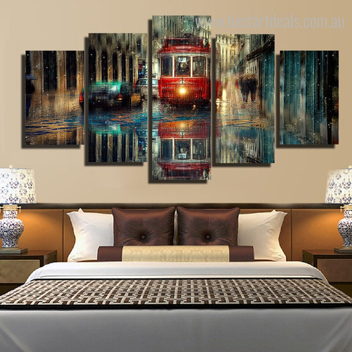 Retro Tram Abstract City Vintage Framed Portmanteau Portrait Canvas Print for Bedroom Wall Onlay