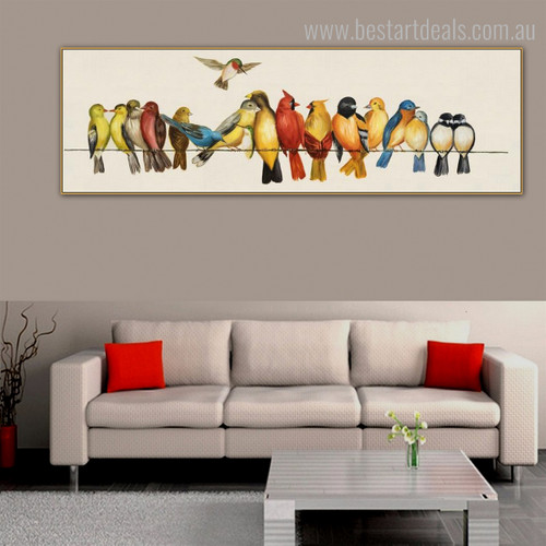 Calico Birdies Panoramic Bird Framed Portraiture Image Canvas Print for Room Wall Outfit