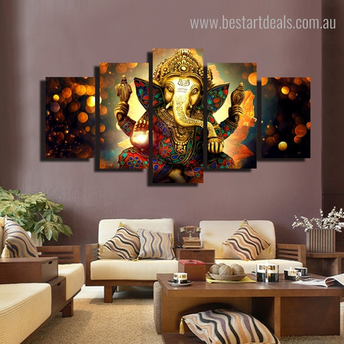Lord Ganesha Hindu Religious Modern Framed Smudge Picture Canvas Print for Room Wall Tracery