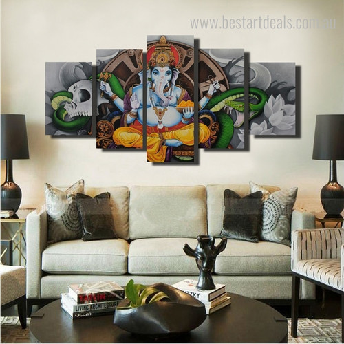 Infinite Ganapati Hindu Religious Modern Framed Painting Photo Canvas Print for Room Wall Decor