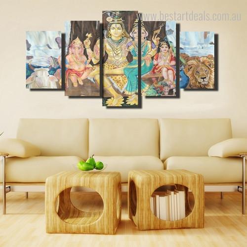 Divinity Ganesha Hindu Religious Modern Framed Painting Portrait Canvas Print for Room Wall Garniture