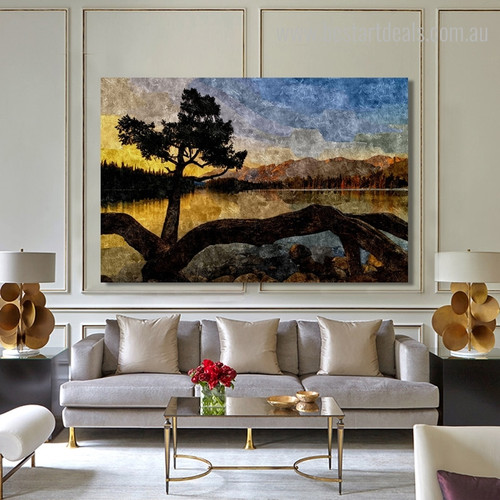 Pond Botanical Nature Landscape Framed Painting Picture Canvas Print for Room Wall Onlay
