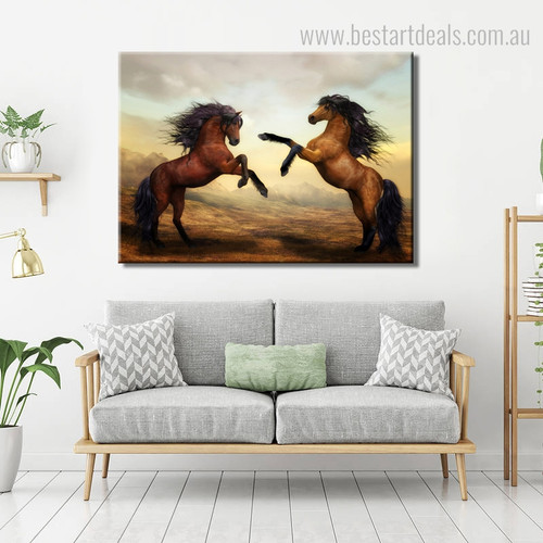 Two Steeds Animal Modern Framed Painting Image Canvas Print for Room Wall Embellishment