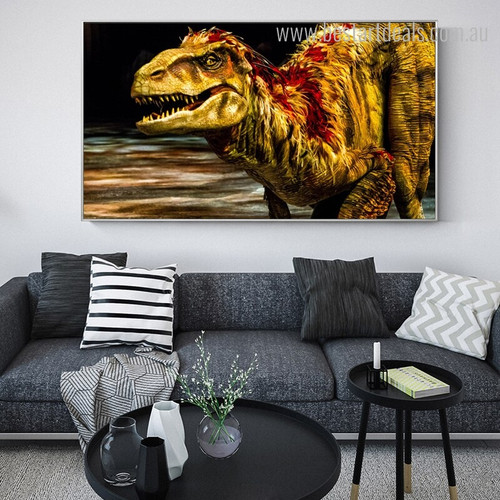 Tyrannosaurus Rex Abstract Animal Framed Portraiture Photo Canvas Print for Room Wall Outfit