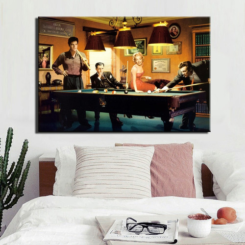 Elvis Presley Humphrey Bogart Marilyn Monroe Play Billiards Bedroom Wall Art Picture