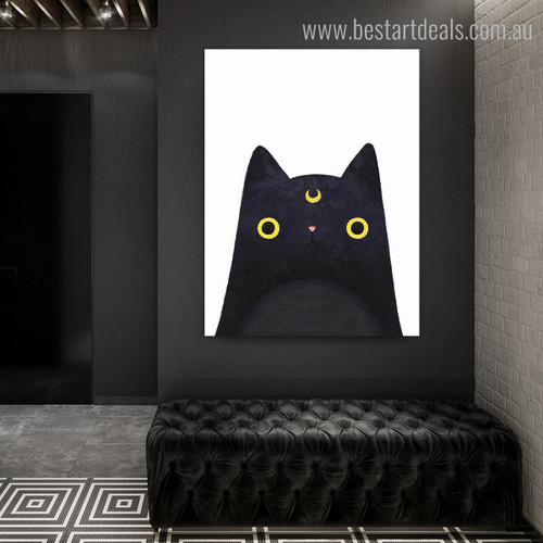 Black Cat Abstract Animal Modern Framed Likeness Portrait Canvas Print for Room Wall Molding