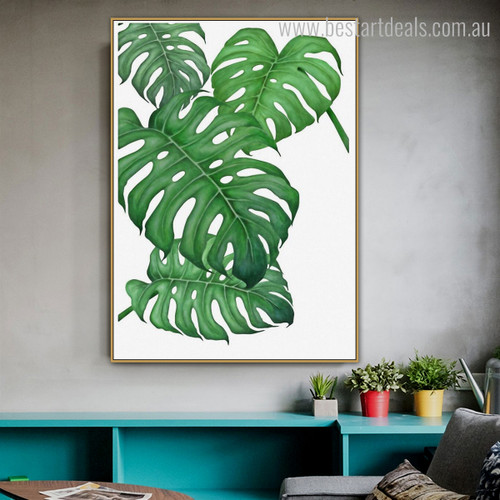 Monstera Leafage Botanical Modern Nordic Framed Scheme Image Canvas Print for Room Wall Adornment