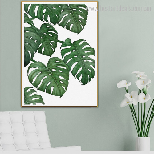 Green Monstera Botanical Modern Nordic Framed Smudge Photo Canvas Print for Room Wall Molding