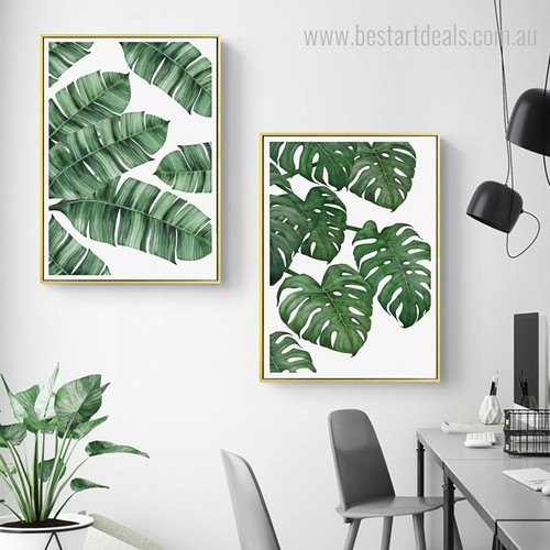 Banana Monstera Foliage Botanical Modern Nordic Framed Smudge Photo Canvas Print for Room Wall Garnish
