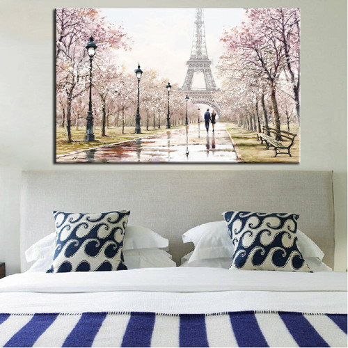 Romantic City Lovers Paris Eiffel Tower Landscape Bedroom  Wall Art Decor