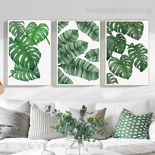 Monstera Banana Petals Botanical Modern Nordic Framed Smudge Picture Canvas Print for Room Wall Flourish