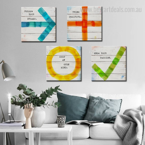 Follow Your Passion Modern Quotes Framed Perspective Picture Canvas Print for Room Wall Outfit