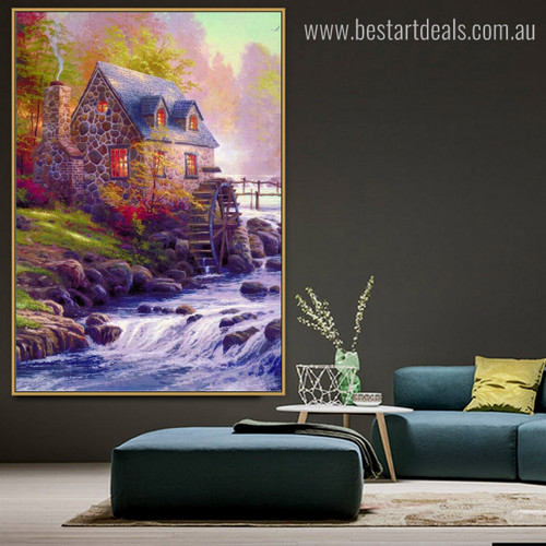 Cobblestone Mill William Thomas Kinkade Reproduction Painting Picture Canvas Print for Room Wall Getup