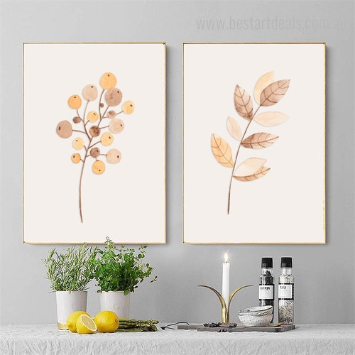 Fruit and Leaves Abstract Botanical Nordic Framed Painting Photo Canvas Print for Room Wall Assortment