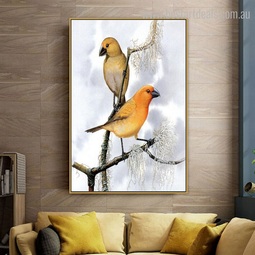 Couple Fowls Bird Modern Framed Likeness Image Canvas Print for Living Room Wall Drape