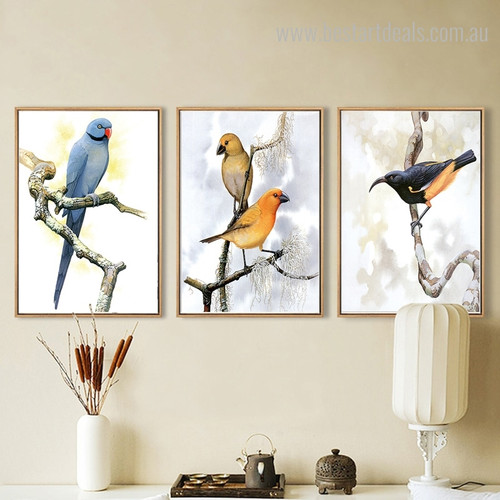 Cute Birdies Bird Modern Framed Vignette Picture Canvas Print for Room Wall Decoration