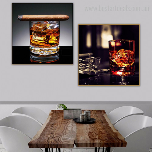Liqueur Food & Beverage Still Life Modern Framed Perspective Picture Canvas Print for Dining Room Wall Finery