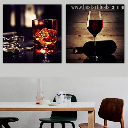 Alcoholic Drink Food & Beverage Still Life Modern Framed Perspective Portrait Canvas Print for Room Wall Getup