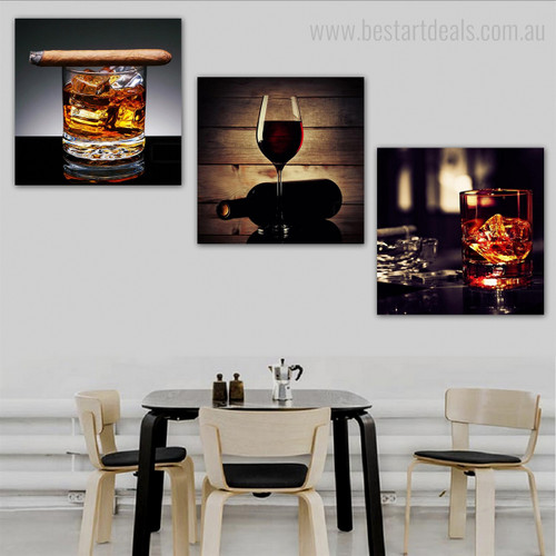 Libation Food & Beverage Still Life Modern Framed Painting Portrait Canvas Print for Dining Room Wall Garniture