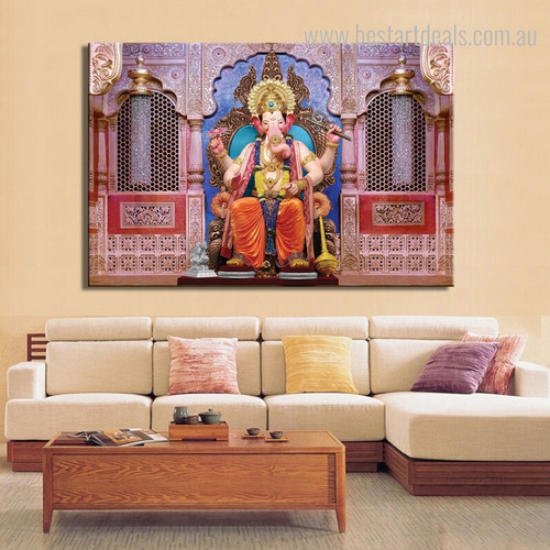 God Ganesh Religious Modern Framed Portmanteau Picture Canvas Print for Living Room Wall Drape