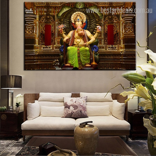Godhead Ganesh Religious Modern Framed Portmanteau Picture Canvas Print for Living Room Wall Decoration