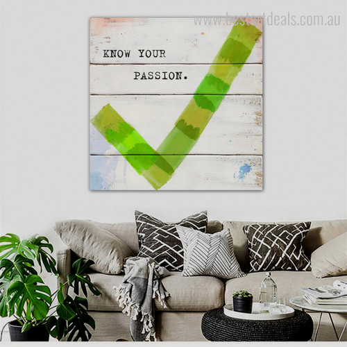 Your Passion Modern Quotes Framed Effigy Image Canvas Print for Room Wall Decoration