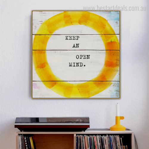 Open Mind Modern Quotes Framed Painting Photo Canvas Print for Room Wall Getup