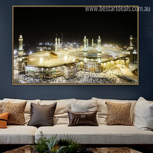 Mecca Mosque Islamic Religious Modern Framed Smudge Picture Canvas Print for Room Wall Garniture
