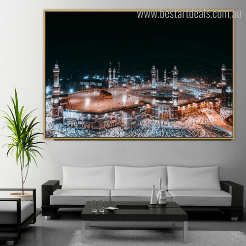 Haram Mosque Islamic Religious Modern Framed Smudge Picture Canvas Print for Room Wall Decoration