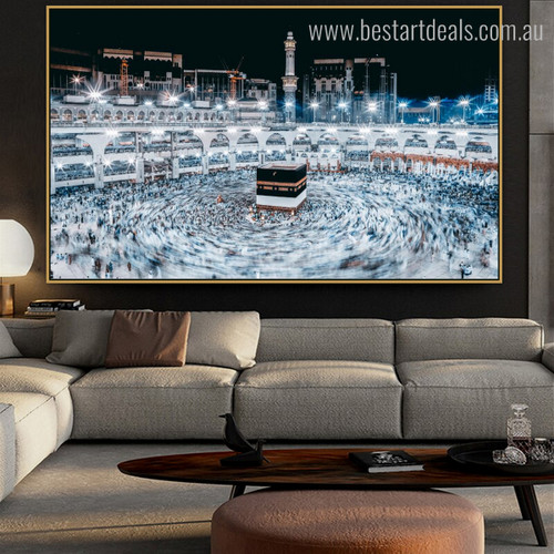 Mosque Nighttime Islamic City Religious Modern Framed Scheme Image Canvas Print for Room Wall Decor