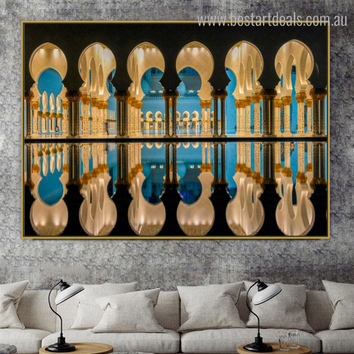 Sheikh Zayed Masjid Islamic Religious Modern Framed Resemblance Portrait Canvas Print for Room Wall Finery