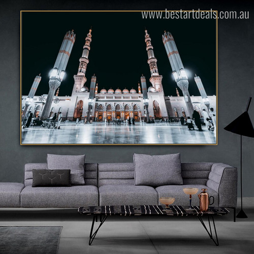 Al Masjid An Nabawi Islamic Religious Modern Framed Smudge Picture Canvas Print for Room Wall Garniture