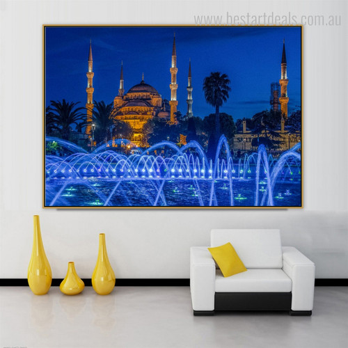 Blue Mosque Islamic Religious Modern Framed Smudge Photo Canvas Print for Room Wall Molding