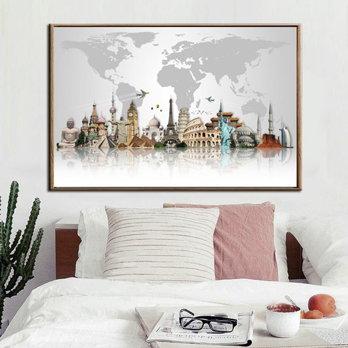 Modern World Famous Buildings Pyramids Map Art Wall  décor