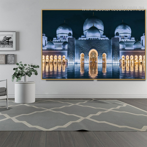Sheikh Zayed Night Islamic Religious Modern Framed Painting Image Canvas Print for Room Wall Decoration