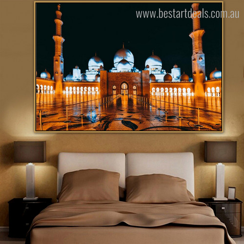 Sheikh Zayed Nightscape Religious Modern Framed Resemblance Photo Canvas Print for Bedroom Wall Decoration