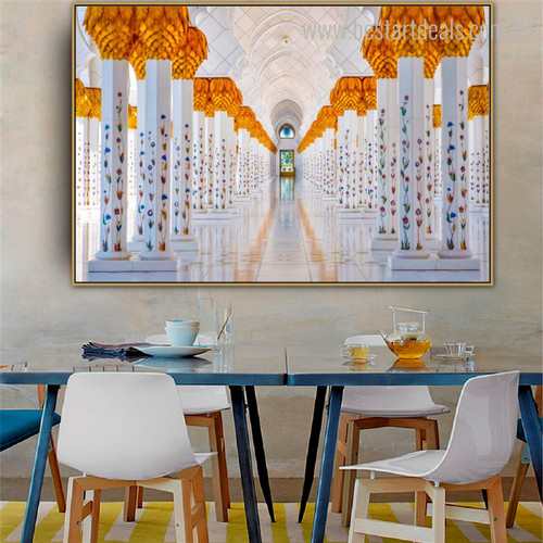 Sheikh Zayed Mosque Islamic Religious Modern Framed Scheme Picture Canvas Print for Dining Room Wall Moulding
