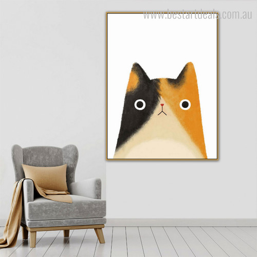 Kitty Abstract Animal Modern Framed Likeness Portrait Canvas Print for Room Wall Outfit
