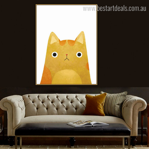 Kitty Cat Abstract Animal Contemporary Framed Tableau Picture Canvas Print for Lounge Room Wall Decoration