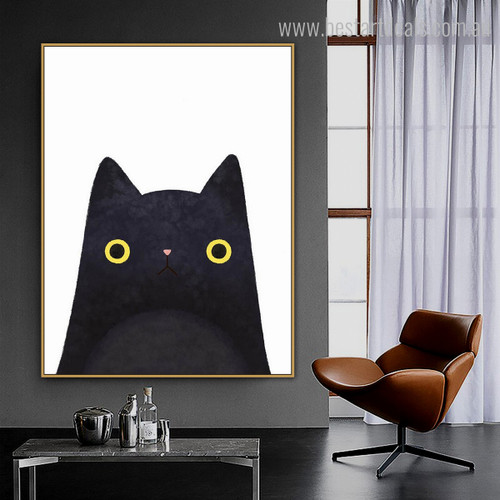 Black Pussy Abstract Animal Contemporary Framed Vignette Picture Canvas Print for Room Wall Disposition