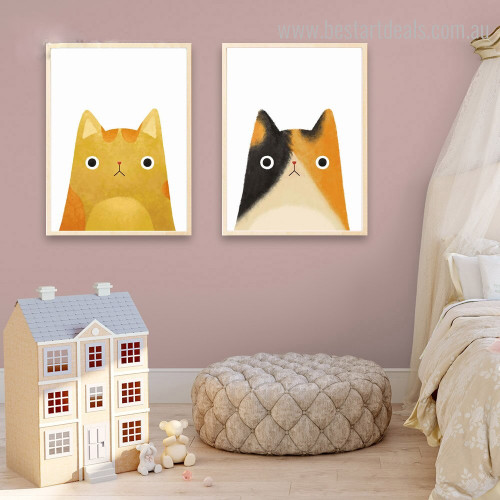 Little Pussycats Abstract Animal Contemporary Framed Vignette Image Canvas Print for Room Wall Getup