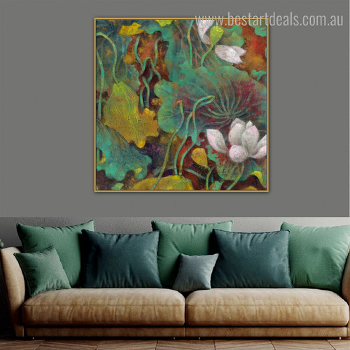 Nymphaea Nelumbo Botanical Watercolor Framed Perspective Picture Canvas Print for Room Wall Embellishment