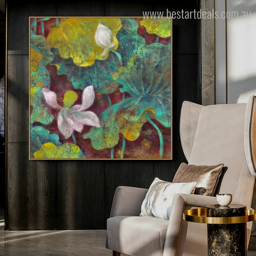 Lilies Burgeon Watercolor Framed Perspective Portrait Canvas Print for Room Wall Flourish