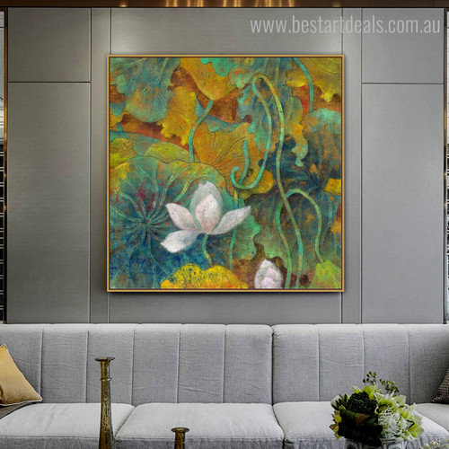 Lilies Botanical Watercolor Framed Painting Picture Canvas Print for Room Wall Embellishment