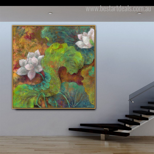 Sacred Lotus Botanical Watercolor Framed Perspective Picture Canvas Print for Room Wall Ornament