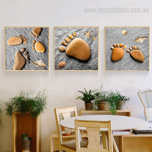 Footprints With Stones Abstract Nordic Modern Framed Painting Photo Canvas Print for Room Wall Outfit
