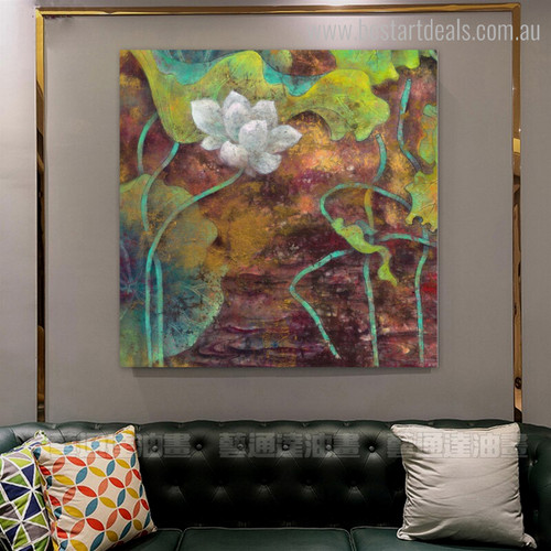 Indian Lotus Botanical Watercolor Modern Framed Effigy Picture Canvas Print for Room Wall Outfit