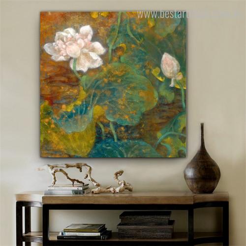Pink Sacred Lotus Botanical Watercolor Framed Smudge Image Canvas Print for Room Wall Garnish