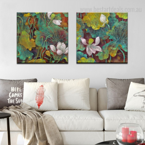 Lotus Wort Botanical Watercolor Framed Scheme Portrait Canvas Print for Room Wall Garnish