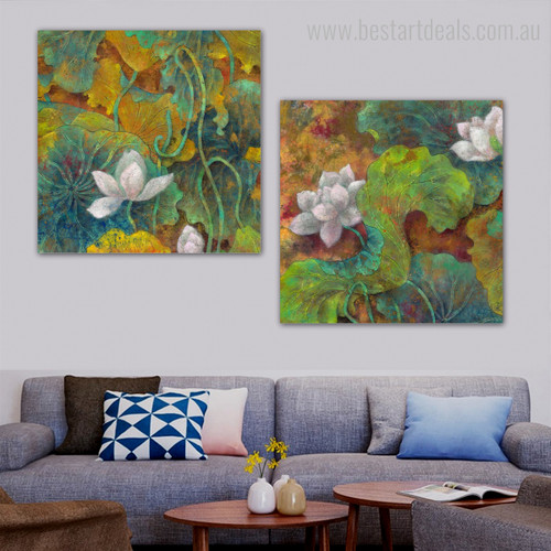 Lotus Seedling Botanical Watercolor Framed Smudge Portrait Canvas Print for Room Wall Finery